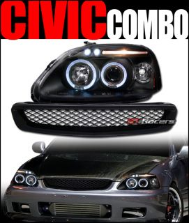 Blk Halo LED Projector Head Lights Front Mesh Hood Grill Grille 1996 1998 Civic