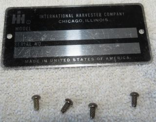 Cub Cadet International Harvester ID Tag Unused