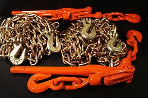 Chain Binder Combo Transport Tie Down Chains Truck Trailer Tow Chain Binders
