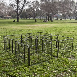 Exercise Metal Play Pen Kennel 2 x 8 Panel Heavy Duty Cage Pet Dog Cat Fence