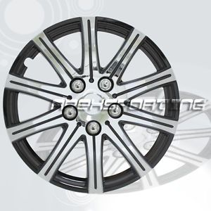 "Set of 4 14"" Silver with Black Hubcaps Rim Wheel Covers Hub Caps"