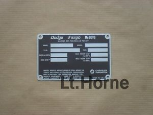 Dodge Fargo DeSoto Trucks Power Wagon W200 M880 1972 1973 Data Plate ID Tag