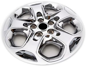 "Fusion 17"" Aftermarket Chrome Wheel Covers Hubcaps Secure Bolt on Black Center"