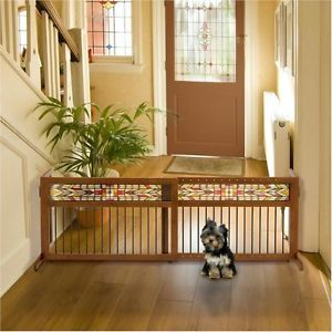 New Brown Rubberwood Dog Gate Indoor Pet Barrier Sustainable Animal Fence Adjust