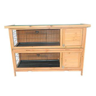 New Pawhut Deluxe 2 Story Wood Rabbit Hutch Guinea Pig Cage Bunny House Home