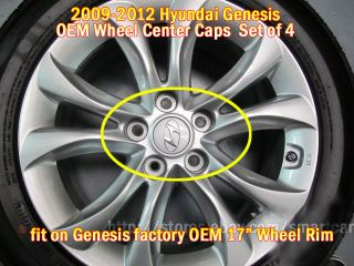 "2009 2010 2011 2012 Hyundai Genesis Sedan V6 3 8 17"" Wheel Hub Cap Set of 4"