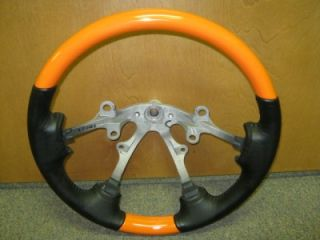 04 06 Dodge RAM Truck La West GTX Xtreme Orange Black Leather Steering Wheel
