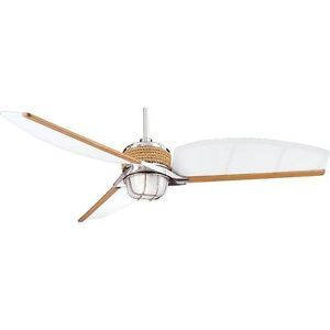 Hampton Bay Escape 68 inch Indoor Outdoor Ceiling Fan w Remote Control Nickel