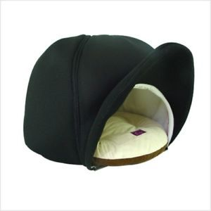 Indoor Pet Dog Cat Cushion Bed House Cap Shape Black