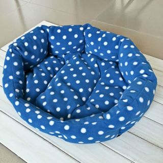 Warm Medium Small Soft Pet Dog Cat Bed Indoor House Nest with Plush Mat Pad Blue