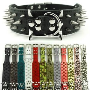 Colorful Cheap 100 GUARANTEE Spiked Studded Leather Dog Collars Pitbull Mastiff