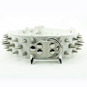 "White 20"" 22"" 24"" 26"" Spiked Studded Leather Dog Collars for Pitbull Mastiff"