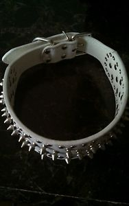 Spiked Stubbed Leather Dog Collar for Pit Bull Boxer Mastiff Breeds