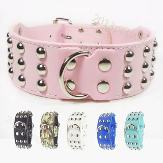 Pit Bull Terrier Dog Collars Spike Pet Rivets Collar PU Leather Husky L Bulldog