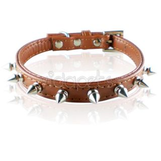 Leather Spiked Dog Collar XS s M Small Medium Spikes