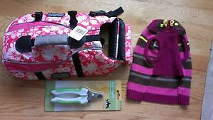 Small SM Outward Hound Pink Print Floral Tropical Dog Life Jacket and Clippers