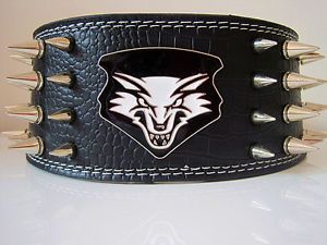Wolf 100 GUARANTEE Spiked Studded Leather Dog Collar Pitbull Mastiff 5cm 56cm S