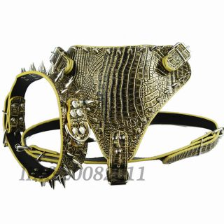 Gold Brown New Spiked Studded Leather Dog Harness Collar Set for Pitbull Boxer