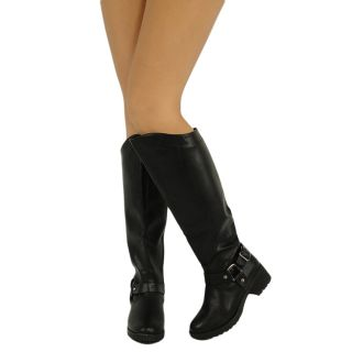 Low Heel Faux Leather Knee High Boots Black Womens Shoes