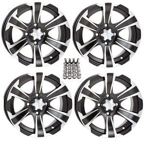 "ITP SS312 ATV Wheels Rims Black 12"" Yamaha Grizzly Rhino 4"