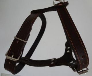 New Style Black Brown Leather Pulling Dog Harness Bully Husky Pit Bull Boxer