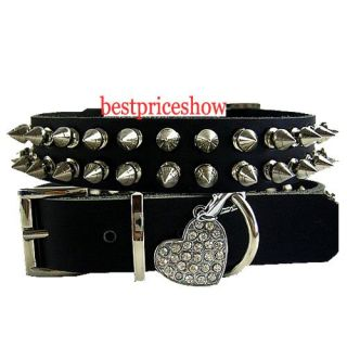 Fashion Black Dog Spiked Studded Leather Collar Spikes