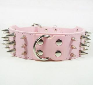 Spiked Studded PU Leather Pet Dog Collar Large Dog Pitbull Mastiff Terrier Bully