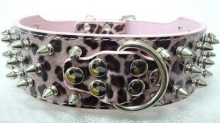 Pink Leopard Leather Spiked Studded Dog Collars for Pit Bull Terrier Collars
