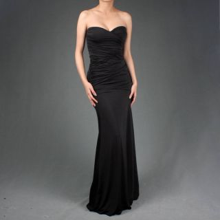 Black Women Designer Evening Formal Gown Maxi Dress L Size