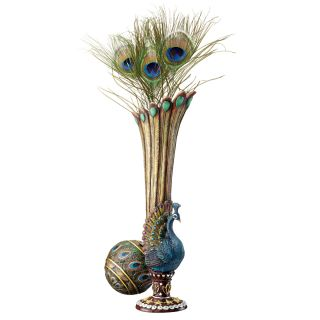 "13 5"" Peacock Plume Bird's Feathered FINERY Hand Painted Bud Vase Home Decor"