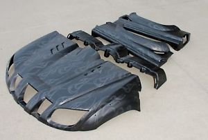 New 2004 2012 Yamaha Rhino Factory Hood Fenders Body Black Ghost Flames