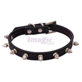 New Single Row Bullen Nail Spiked Studded Leather Dog Pet Collar Spikes