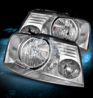 04 08 Ford F150 06 08 Lincoln Mark Lt Crystal Chrome Headlights LH RH Head Lamps