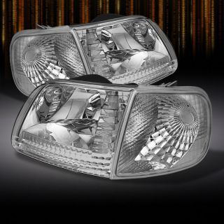 97 03 F150 97 02 Expedition Crystal Chrome Headlights Corner Signal Lights Lamps