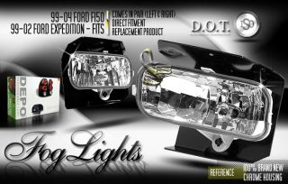 Depo Pair Euro Style Chrome Fog Lights 99 04 Ford Expedition 99 03 Ford F150