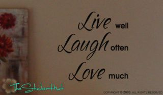 Live Well Laugh Often Love Vinyl Words Lettering Wall Sticker Decal 552