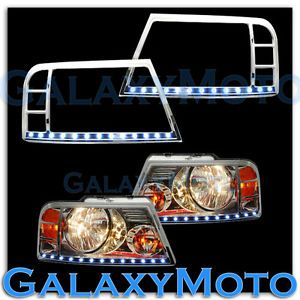 04 08 Ford F150 Truck Chrome Headlight Head Light Trim Bezel White LED Cover
