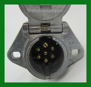 7 Way Socket Semi Trailer Truck Light Connector Round Split Pin Receptacle