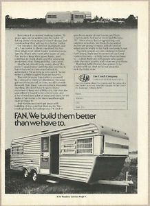 1974 Vintage Ad Fan Coach Company Aluminum Travel Trailers 050313