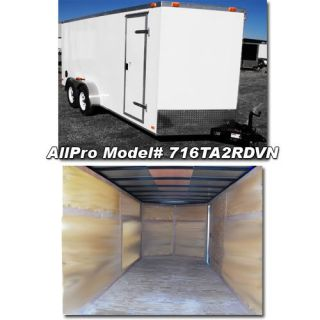 2013 7 x 16 7x16 V Nose Enclosed Trailers Cargo Trailer Side Door Tandem Axle