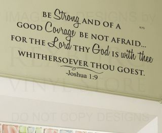 Wall Decal Sticker Quote Vinyl Art Lettering Large Be Strong God Is with Thee R7