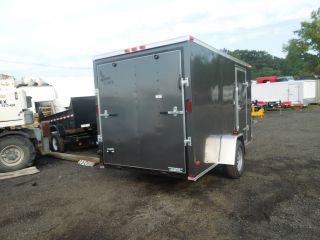 New 2013 Lark 6x12 V Nose Enclosed Cargo Trailer Charcoal Gray