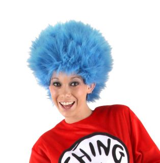 Dr Seuss Thing 1 2 Blue Costume Wig Adult New