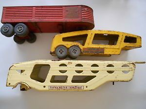 Vintage Large Pressed Metal Toy Truck Trailers Lot