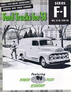 1951 Ford Truck Sales Brochure F 1 Series