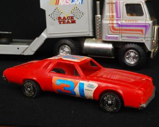 Vintage 1970s Ertl NASCAR Semi Flatbed Truck with Race Car Tool Accessories