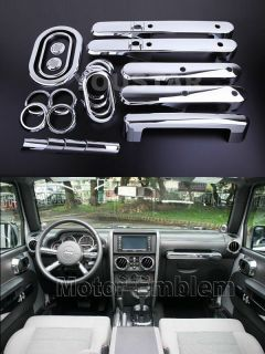 X21 Full Set Chrome Interior Covers Trim for Jeep Wrangler Unlimited 07 10 4DOOR