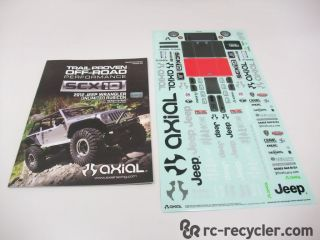 Axial SCX10 Jeep Wrangler Unlimited Manual Sticker Sheet Decals Scale Crawler