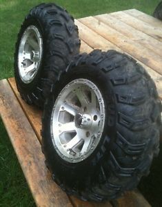 Suzuki King Quad 700 Vision Aluminum Wheels 12x7 w Tires ITP Mud Lite 25x8x12
