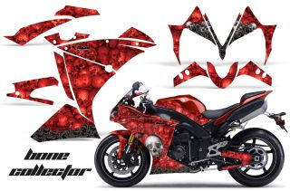 AMR Racing Graphics Decal Wrap Kit Yamaha R1 Street Bike 2010 2012 Bones Red